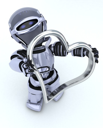 chrome man: 3D render of a Robot with heart charm Stock Photo