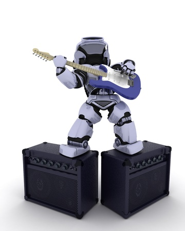3D render of a Robot playing the guitar Stock Photo - 17664753