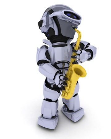 electronic music: 3D render of a Robot playing the saxophone