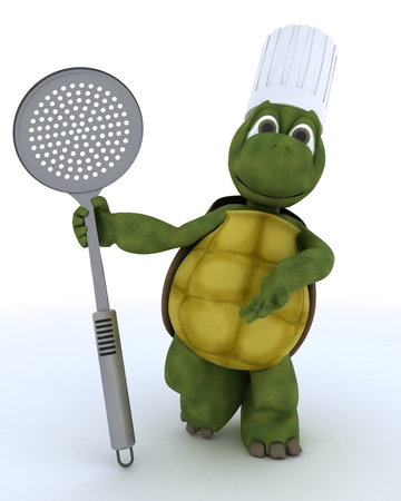 straining: 3D render of a tortoise chef with straining spoon