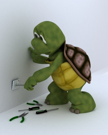 3D render of a tortoise electrical contractor photo