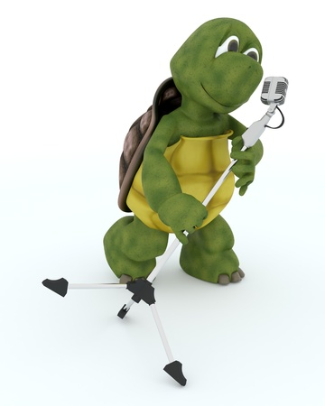 3D render of a tortoise singing into a retro microphone Stock Photo - 17664742