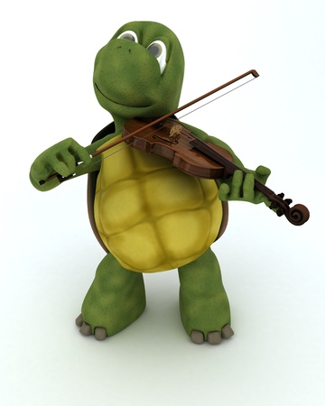 3D render of a tortoise playing the violin Stock Photo - 17664781