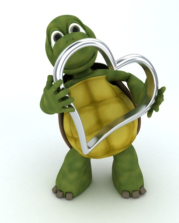 turtles love: 3D render of a tortoise with heart charm