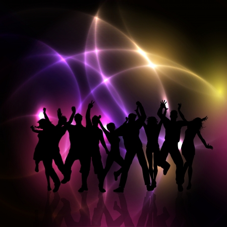 Silhouettes of people dancing on an abstract lights background photo