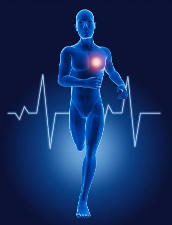 kardio: 3D futó orvosi férfi EKG szívverés Stock fotó