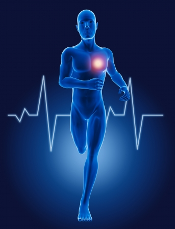 dolor en el pecho: 3D hombre corriendo m�dica con ECG latido del coraz�n Foto de archivo