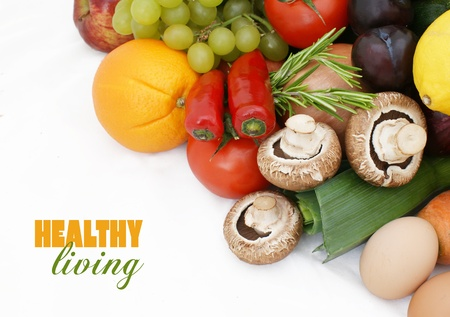 vegs: Stack of healthy fruit and vegetables