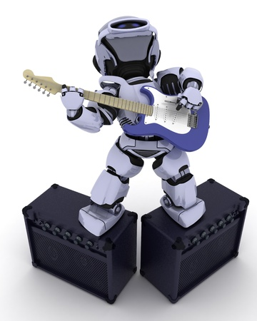 3D render of a Robot playing the guitar photo