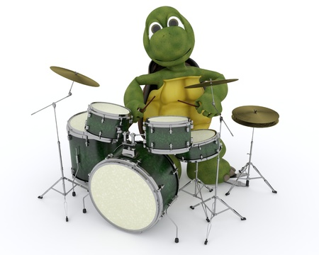 3D render of a tortoise playing the drums photo