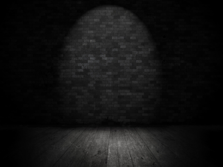 Grunge Style Interior With Brick Wall And Spotlight Photo