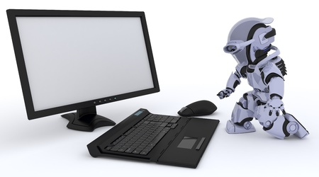 3D render of a Robot with a computer Stock Photo - 18540499