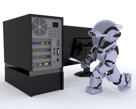 3D render of a Robot with a computer photo