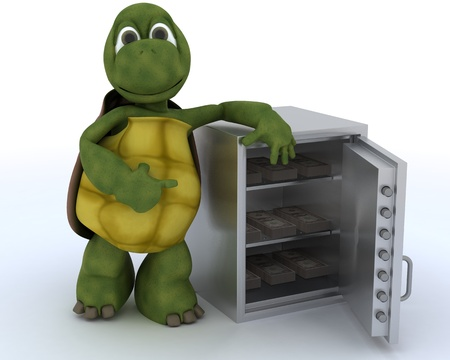 3D render of a tortoise with a safe full of money photo