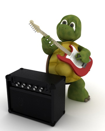 water turtle: 3D render of a tortoise playing the guitar Stock Photo