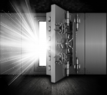 bank vault: Illustration of a bank vault in a grunge interior with light beams coming out of open door