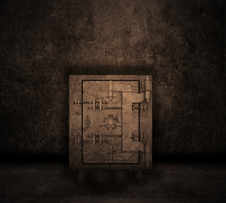 bank vault: Grunge style image of a room interior with safe Stock Photo