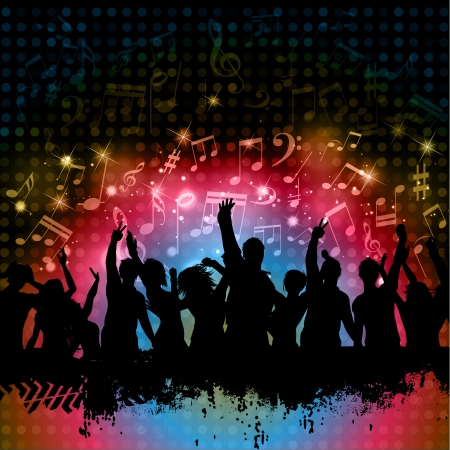 neon party: Silhouette of grunge crowd on a music notes background