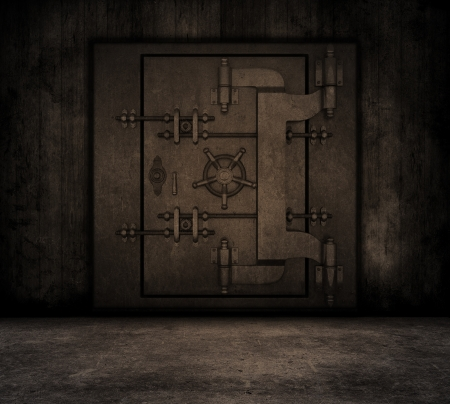 Grunge style image of a room interior with bank vault Stock Photo