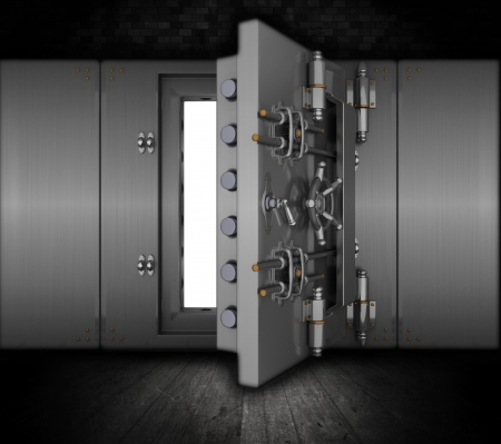 money vault: Illustration of a bank vault in a grunge interior