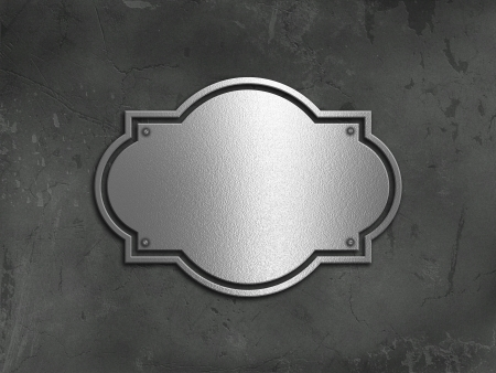 Grunge concrete background with a chrome metal plate Stock Photo - 19446845
