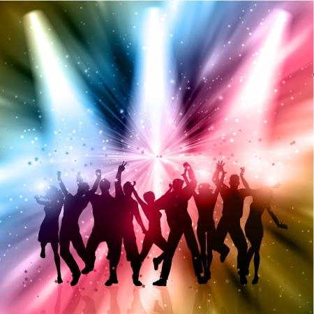 persone che ballano: Sagome di persone a ballare su uno sfondo astratto