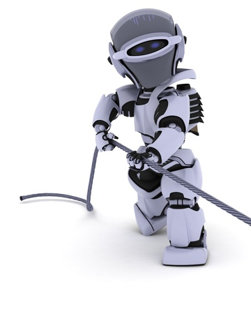 3D render of a Robot Pulling on a Steel Cable photo