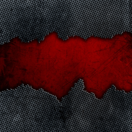 Cracked metal on a red grunge background Stock Photo - 19689695