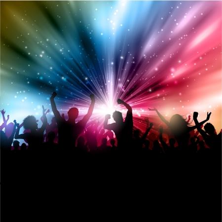 people dancing: Silhouette di una folla di partito su un starburst sfondo astratto