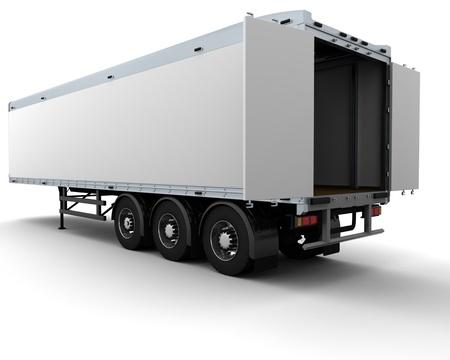 3 D レンダラ ・白い貨物トレーラーの