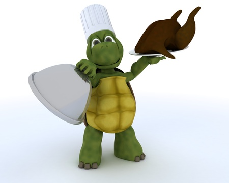 3D render of a tortoise chef with a chicken photo
