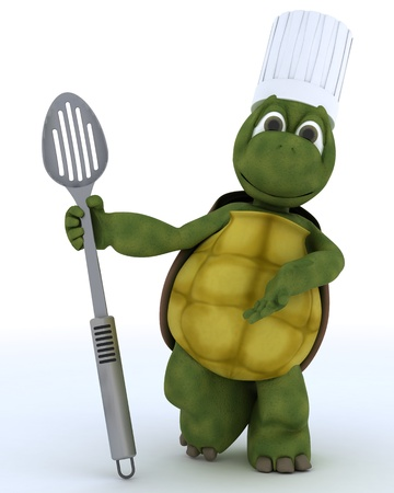 3D render of a tortoise chef with slotted spoon photo