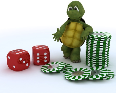 3D render of a tortoise with casino dice and chips photo