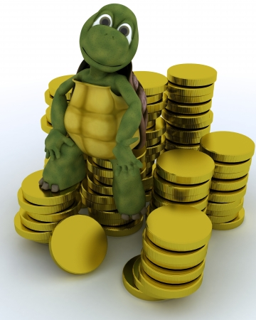 carapace: 3D render of a tortoise sat on gold coins Stock Photo