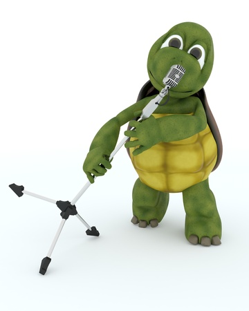 3D render of a tortoise singing into a retro microphone photo