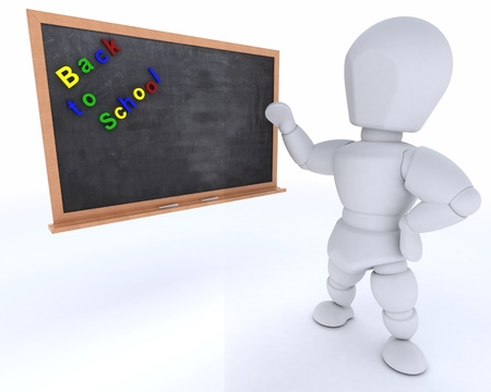 3D render of a man with school chalk board back to school Stok Fotoğraf