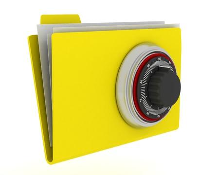 locked: 3D Render of secure data folder