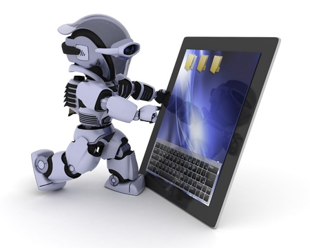 3D render of a Robot with a digital tablet photo