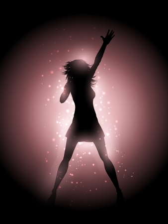 singing silhouette: Silhouette of a female singer performing on a glowing lights background Stock Photo