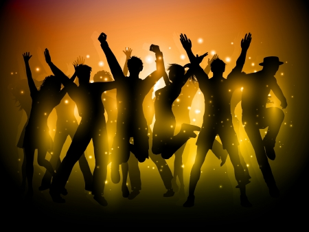 Silhouette of a group of party people dancing