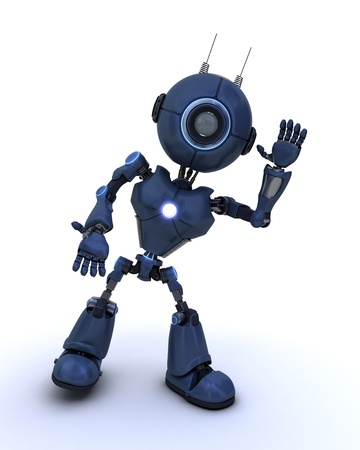 3D Render of a robot waving  photo