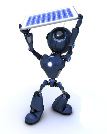 3D Render of a robot with a solar panel photo