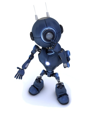 3D Render of a robot thinking photo