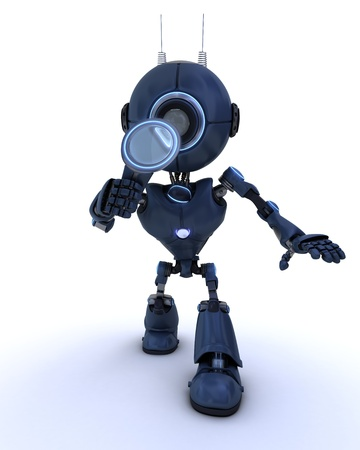 3D Render of a robot inspecting with a magnifying glass photo