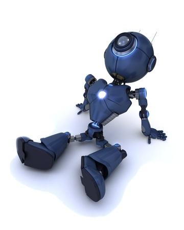 3D Render of a robot relaxing photo