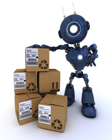 3D Render of a robot with shipping boxes photo