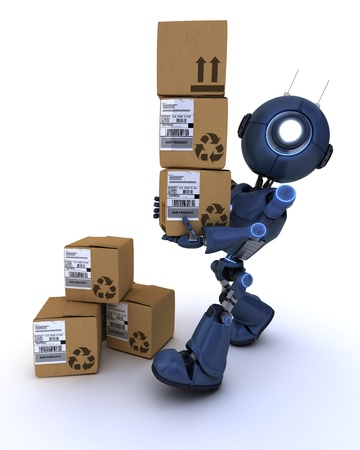 3D Render of a robot with shipping boxes Stock Photo - 20621242