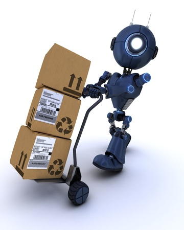 3D Render of a robot with shipping boxes Stock Photo - 20621244