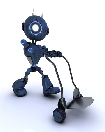 3D Render of a robot with sack truck photo