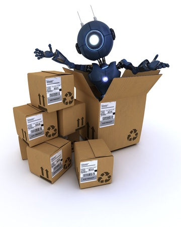 3D Render of a robot with shipping boxes Stock Photo - 20621247
